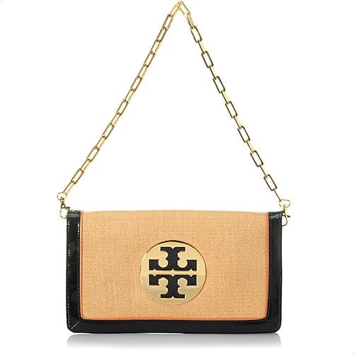 Tory Burch Straw Saddle Reva Clutch