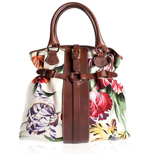 Valentino Belted Floral Canvas Tote
