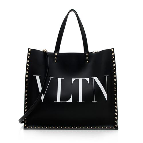 Valentino Calf Leather Rockstud VLTN Convertible Tote