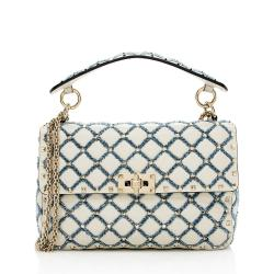 Valentino Calfskin Denim Rockstud Spike Up Chain Shoulder Bag