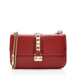 Valentino Calfskin Glam Lock Medium Shoulder Bag