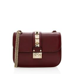 Valentino Calfskin Glam Lock Small Shoulder Bag