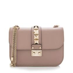 Valentino Calfskin Glam Lock Small Shoulder Bag