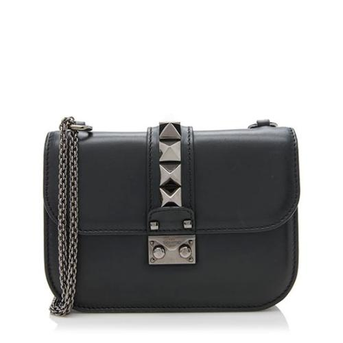 Valentino Calfskin Noir Glam Lock Small Shoulder Bag