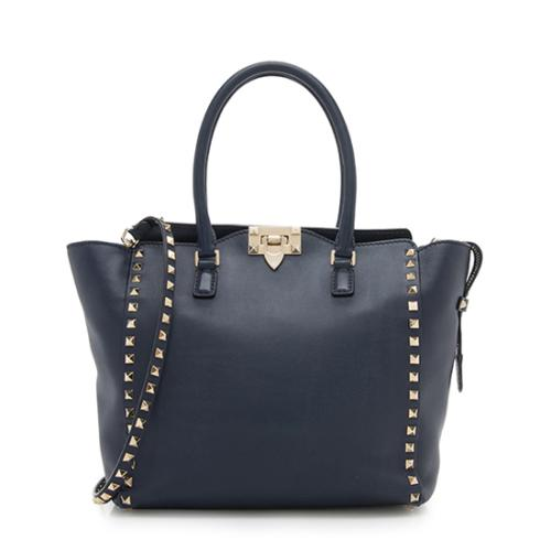 Valentino Calfskin Rockstud Double Handle Medium Tote