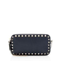 Valentino Calfskin Rockstud Double Zip Crossbody Bag