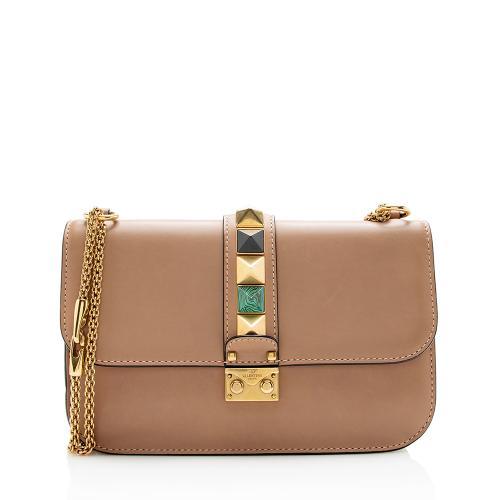 Valentino Calfskin Rolling Rocksud Glam Lock Medium Shoulder Bag