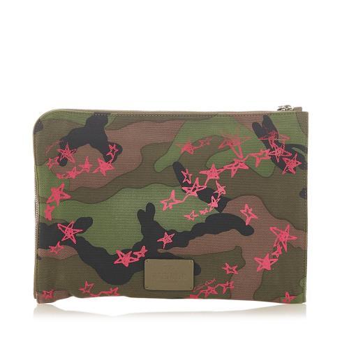 Valentino Camouflage Canvas Clutch Bag