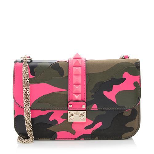 Valentino Camouflage Glam Lock Shoulder Bag