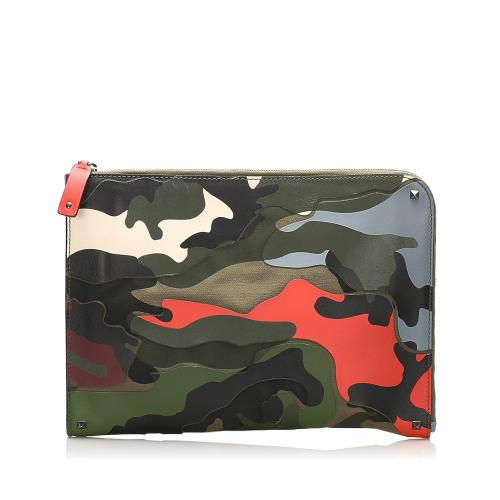 Valentino Camouflage Leather Clutch Bag