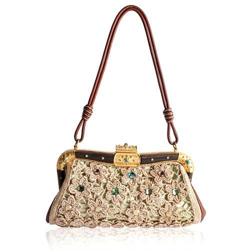 Valentino Crochet Framed Evening Shoulder Handbag