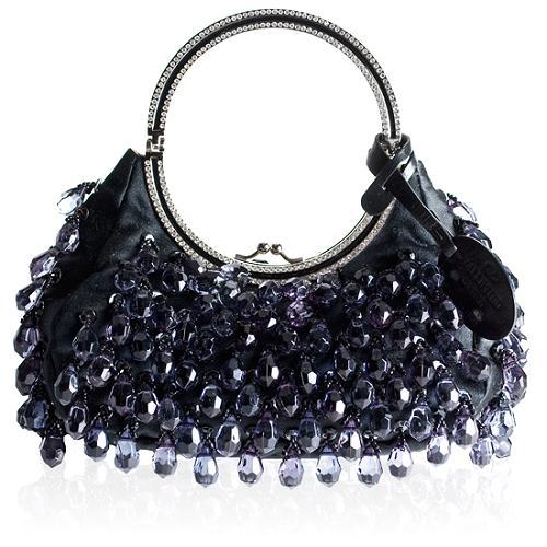 Valentino Crystal Beaded Evening Satchel Handbag