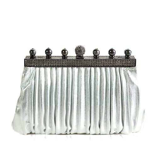 Valentino Crystal and Pearl Detail Clutch