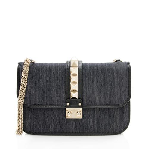 Valentino Denim Glam Lock Medium Shoulder Bag
