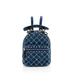 Valentino Denim Rockstud Spike Mini Backpack