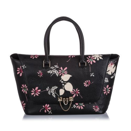 Valentino Embroidered Leather Demilune Satchel