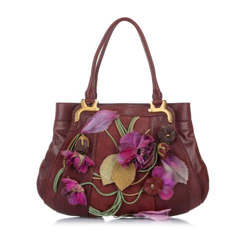 Valentino Floral Applique Leather Tote Bag