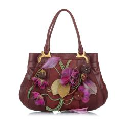 Valentino Floral Applique Leather Tote Bag