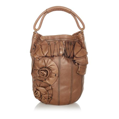 Valentino Floral Leather Bucket Bag