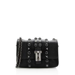 Valentino Grained Calfskin Noir Rolling B-Rockstud Chain Micro Shoulder Bag