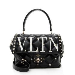 Valentino Leather Candystud VLTN Top Handle Satchel