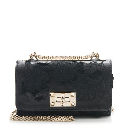 Valentino Leather Cut Out Lace Shoulder Bag