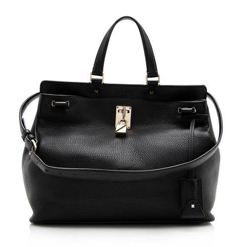Valentino Leather Joy Lock Top Handle Satchel