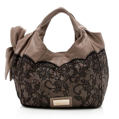 Valentino Leather Lace Day Nuage Bow Tote