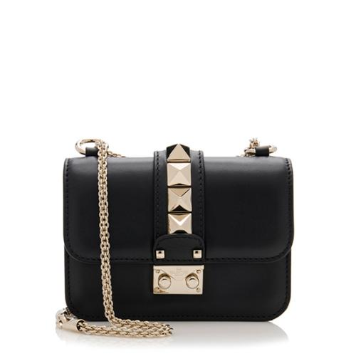 Valentino Calfskin Glam Lock Mini Shoulder Bag
