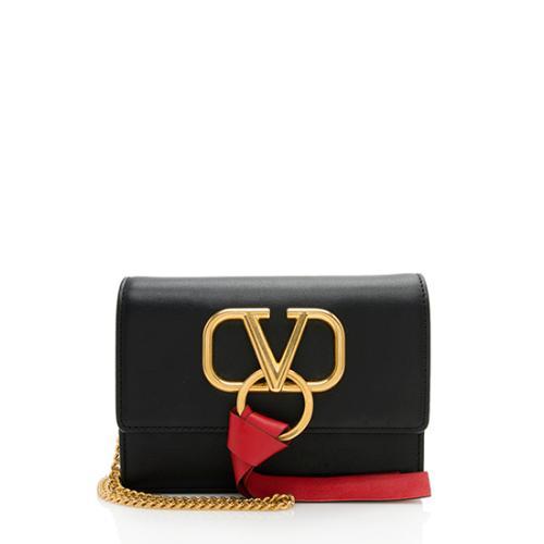 Valentino Leather Ribbon VLOGO Crossbody Bag