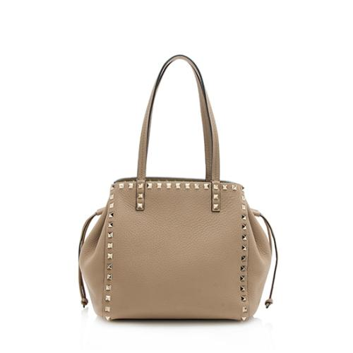 Valentino Leather Rockstud Double Handle Drawstring Tote