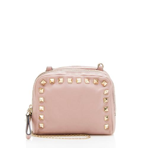 Valentino Leather Rockstud Double Zip Mini Crossbody Bag