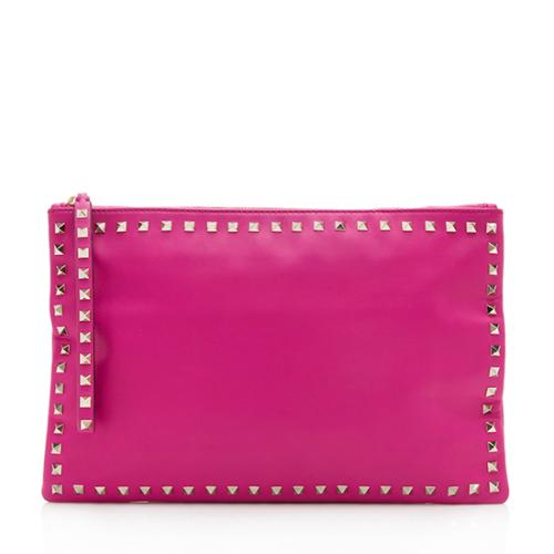 Valentino Leather Rockstud Large Clutch