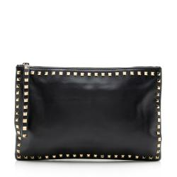 Valentino Leather Rockstud Large Clutch