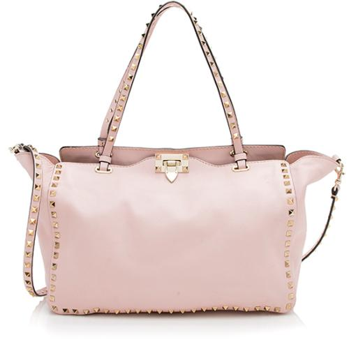 Valentino Leather Rockstud Medium Tote