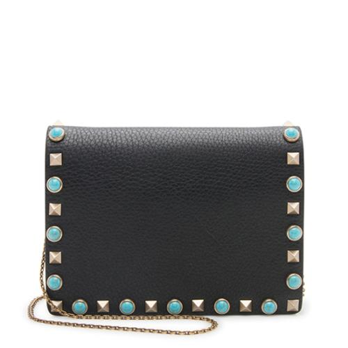 Valentino Leather Rolling Rockstud Chain Pouch Crossbody Bag