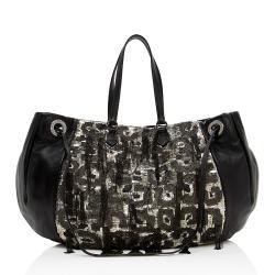 Valentino Leather Sequin Chain Glam Convertible Tote