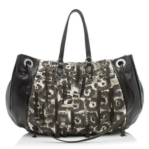 Valentino Leather Sequin Chain Glam Convertible Tote