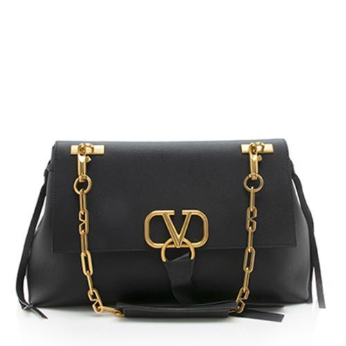 Valentino Leather V-Ring Medium Shoulder Bag