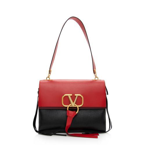 Valentino Leather V-Ring Shoulder Bag