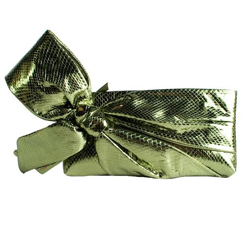 Valentino Metallic Ayers Bow Clutch