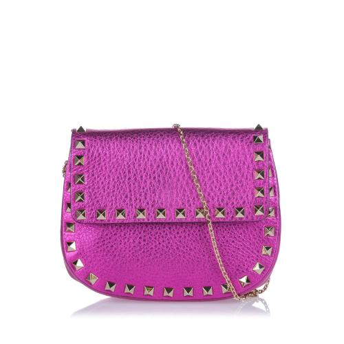 Valentino Metallic Leather  Rockstud Crossbody Bag