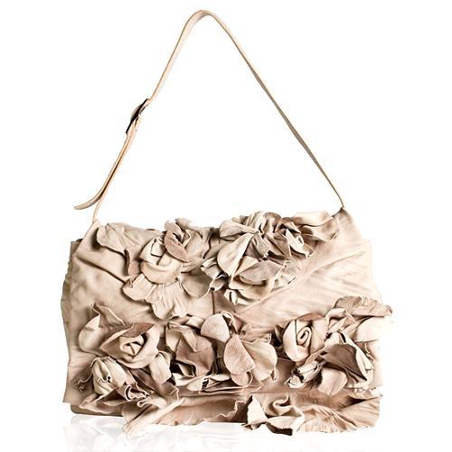 Valentino Nappa Leather Applique Floral Clutch