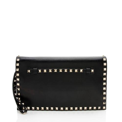 Valentino Nappa Leather Rockstud Clutch