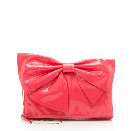 Valentino Patent Leather Lacca Bow Clutch