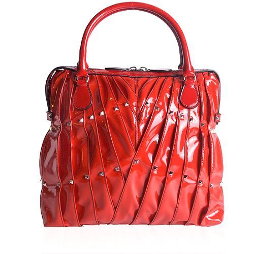 Valentino Patent Leather Maison Studded Shoulder Handbag