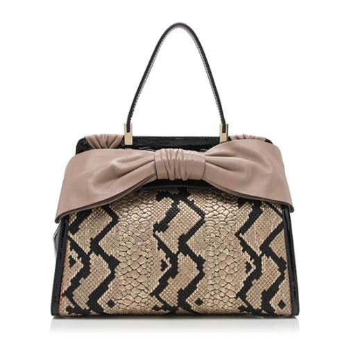 Valentino Patent Leather Woven Aphrodite Bow Satchel