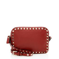 Valentino Pebbled Calfskin Rockstud Camera Bag