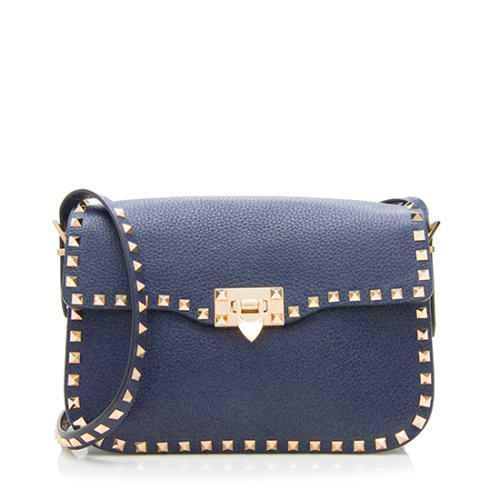 Valentino Pebbled Calfskin Rockstud Flap Shoulder Bag