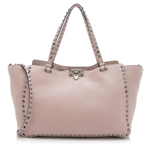 Valentino Pebbled Leather Rockstud Medium Tote
